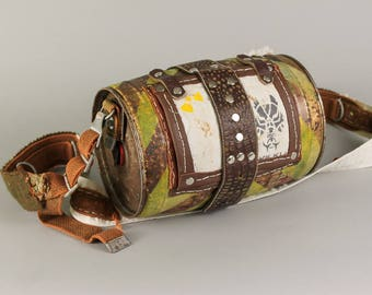 Beer Keg Shoulder Bag - Beer Lover - Post Apocalyptic Bag - Messenger Bags - Metal Purse - Metal Bags - Leather Messenger Bags