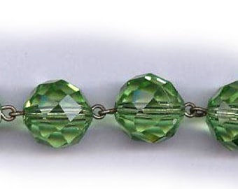 vintage swarovski crystal beads round beads PERIDOT GREEN color, no AB, 12mm crystal beads antique crystal bridal beads