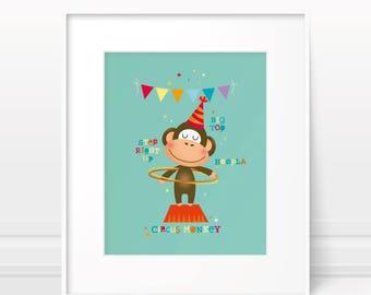 Circus nursery art, nursery print, monkey print, circus monkey, kids wall art, kids illustration, boys nursery, childrens art, kids prints