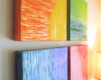 Rainbow Art Kids Room Red Orange Yellow Green Blue Set of 4 Quad Canvas Contemporary Modern 12 x 12 Office Home Color Block square Nursery