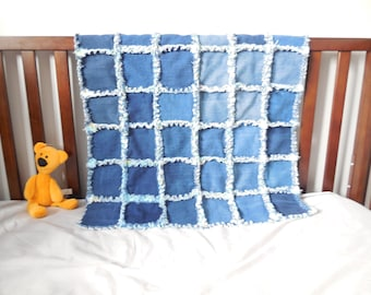 Blanket quilt (denim) recycled denim and flannel blue and yellow