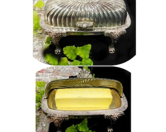 Sliver butter dish -  Butter Dish with Lid - footed butter dish - butter server - vintage kitchen - domed butter dish  # 12