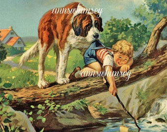 Boy's Room Art Print, St. Bernard Helps Little Boy Restored Antique Art #508
