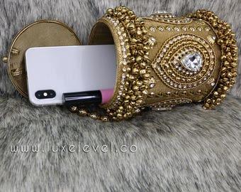 Gold metal purse - Handmade crystal clutch - Evening clutch - metal bag