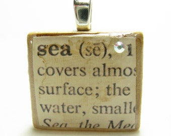 Sea - vintage dictionary Scrabble tile with Swarovski crystal