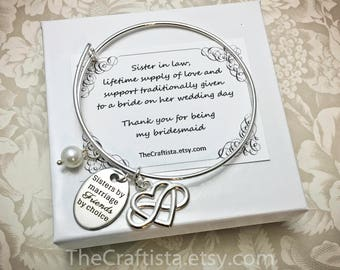 SLB2, Sister of the Groom Bracelet, Sister-in-law Bangle, Maid of Honor Bangle, Sister of the Groom Gift, Bridesmaid Jewelry Matron of Honor