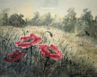 Poppy Field, watercolor landscape, landscape painting, watercolor print, country landscape, meadow wildflowers, nature painting, home decor
