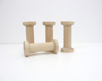 "Wooden spool 2.75"" tall set of 4, wood spools"