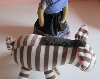 Cuddly Stuffed Animal, Chokola Zebra Pony, striped Plushie, Zorse, Striped horse, Donkey