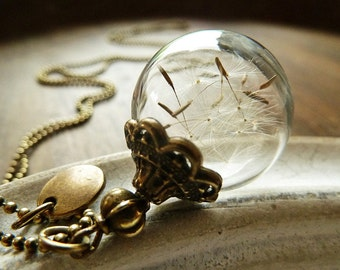 Dandelion Necklace Bronze/ Wish Letter