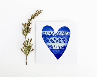 Love Greeting Card, Blue Heart Design, Lacy Heart, BFF Present, Great for Birthday, Great for Valentines Day, Bridesmaid Card, I love you