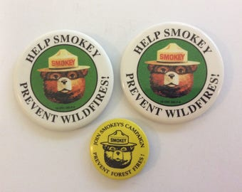 Vintage Smokey Bear Pin, Smokey Bear Pin Back, Smokey Bear Badge, Smokey Bear Button