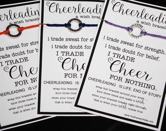 16 CHEERLEADING Wish Bracelets - Trade Cheer For Nothing ...Pick Your Color ... Team Spirit... Gifts