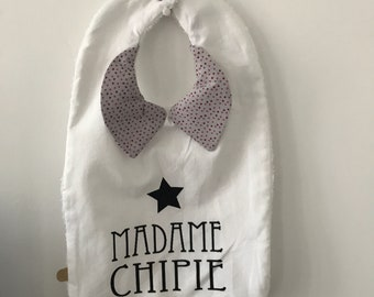 White cotton bib with printed cotton collar and screen printed