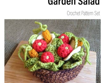 CROCHET PATTERN Garden Salad Playfood Set Educational Toy Montessori Waldorf Inspired