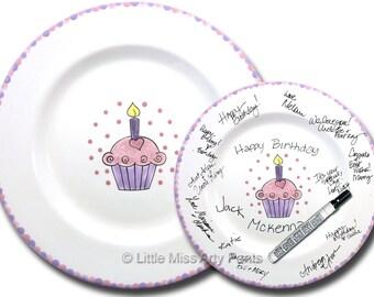Free Shipping - Hand Painted Signature Birthday Plate -Heart Cupcake - Happy Birthday Plate - 1st Birthday -Birthday Cupcake - Birthday Gift