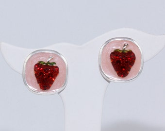 Red clip earrings Strawberry earrings Silver plate Pink enamel frame Square shaped Lightweight Excellent condition