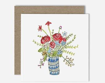 Tall Vase / Floral Illustration Greeting Card