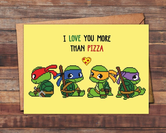Valentines Day Card Teenage Mutant Ninja Turtles I Love You