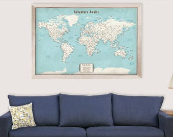 Travel Map Push Pin Frame World Map Frame Push Pin Map Personalized 1st Anniversary Gift for Him Custom Wedding Gift for Groom from Bride
