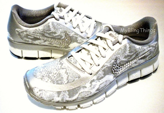 SALE!! SNAKESKIN! Nike Free Run 5.0 V4 Print Shoes - Metallic Silver /  Summit White - Bedazzled with 100% Authentic Crystals from Swarovski