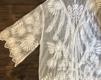 In Dreams Embroidered Lace Coverup, Boho style kimono cardigan, Bohemian Sheer Cardi, One size fits all, Fits S M L, Color white