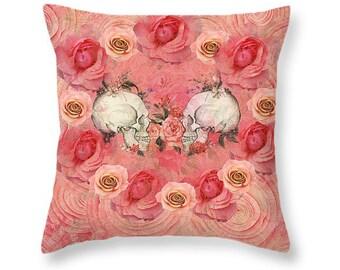 Sugar Skull Throw Pillow Pink Skulls