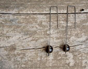 Smoky quartz - long dangle earrings - oxidized sterling silver