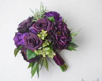 Fall Bouquet, Wedding Bouquet, Silk Flower Bouquet, Purple, Plum Bouquet, Destination Wedding Bouquet, Dark Purple Bouquet, Rose Bouquet