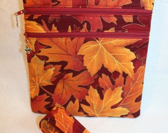 Handcrafted Crossbody Bag-  Autum - Fall - Leaves Themed Fabric