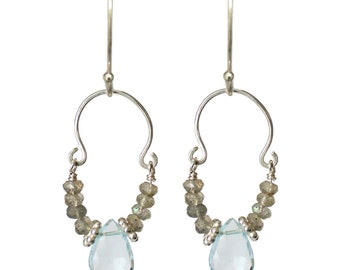 Sky Blue Topaz, Labradorite and Sterling Silver U Earring