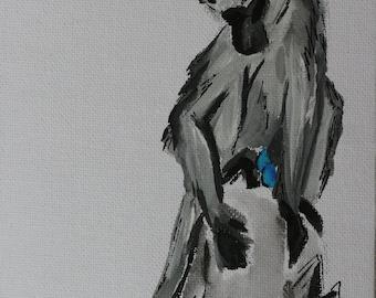Vervet monkey watercolour painting on canvas board