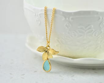 Gold Leaf Turquoise Drop Necklace, Turquoise Teardrop Pendant Necklace Jewellery, Simple Gold Bridesmaids Flower Girl Charm Leaf Necklace