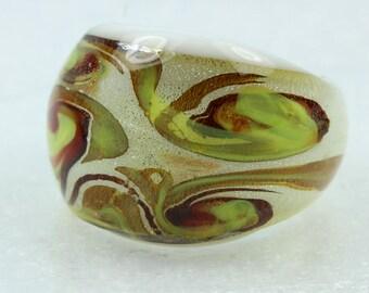 Boho Handmade Glass Ring Size: P 1/2-7 3/4