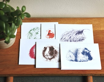 Guinea Pig cards - set of six different cards