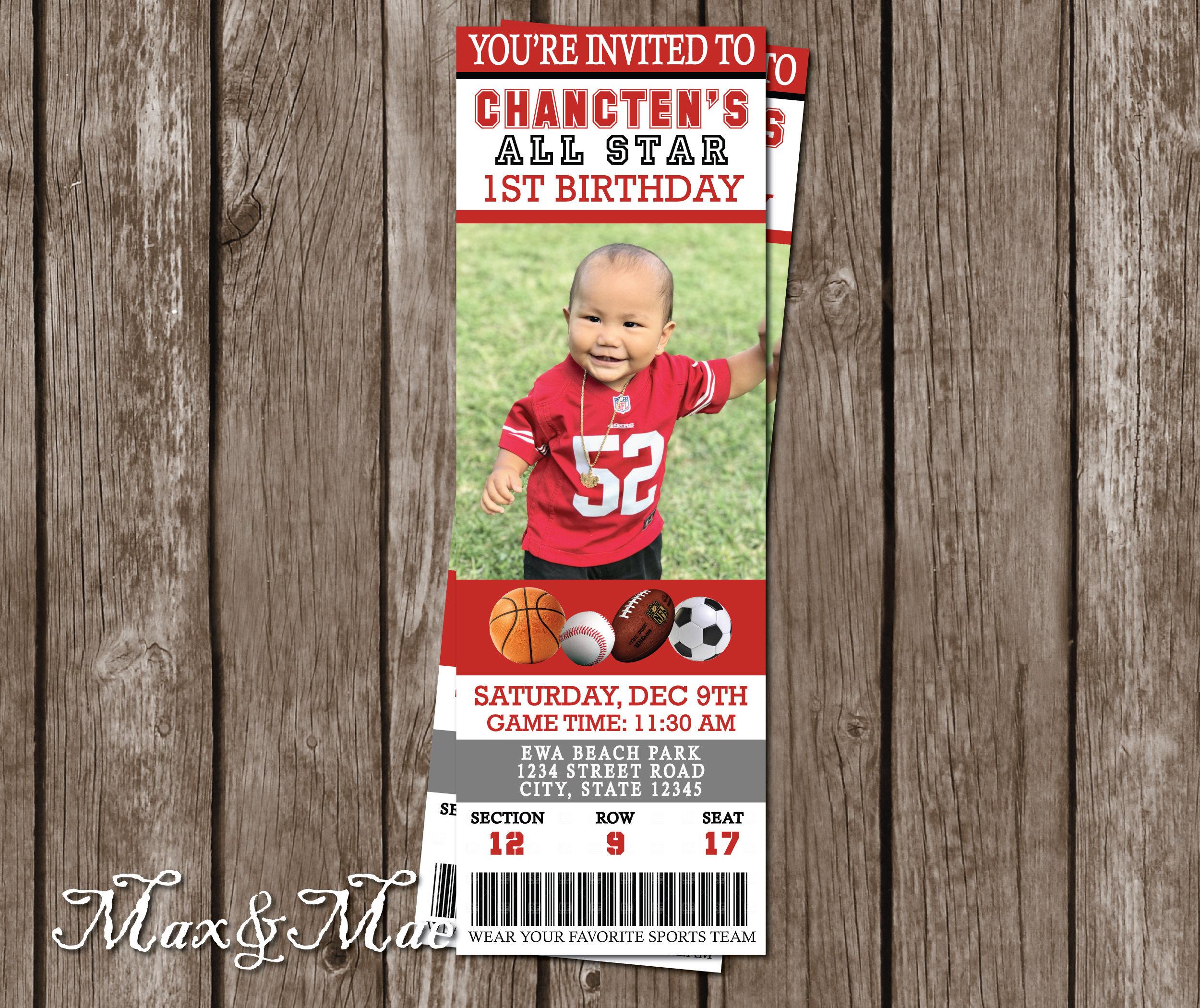 Sports Ticket Birthday Invitation All Star Birthday Rookie