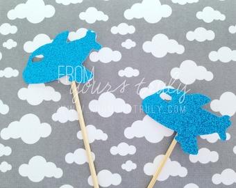 Cute blue glitter plane Cupcake toppers! (Pk of 20)