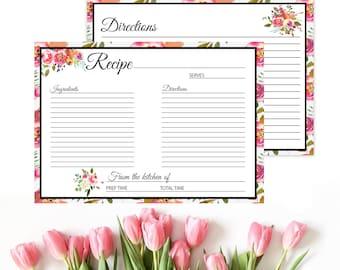 Boho recipe card, recipe card insert, floral recipe card, rustic recipe card, flora recipe cards, printable recipe, bridal recipe card,