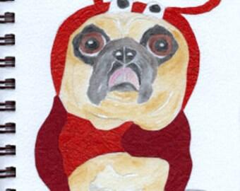 "Pug Print - Sketchbook Series - Watercolor & Collage - ""Fuddy-Duddy"""