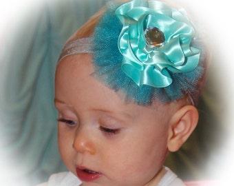 Flower Headband Aqua