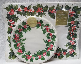 Vintage Hallmark Holly & Berry Placemats and Paper Plates/Christmas Placemats and Paper Plates