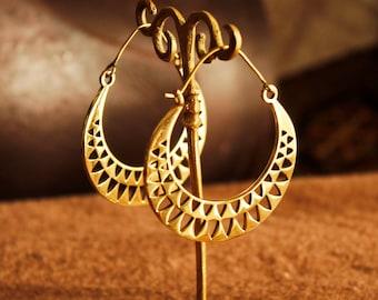 Brass earrings gypsy creole earrings big gold hoop earrings festival jewelry trendy earrings gold boho earrings bohemian jewelry boho hoops