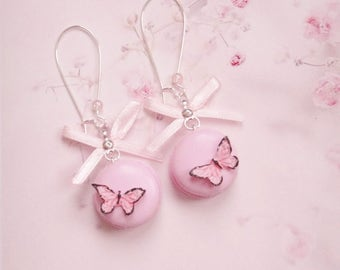 earrings macaroons with butterfly polymer clay