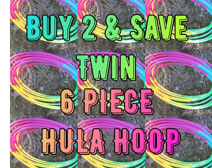"""Twin Rainbow Six Toned Polypro Hula Hoop 3/4""""or 5/8"""" Collapsible for Travel- Push Pin Connection"""