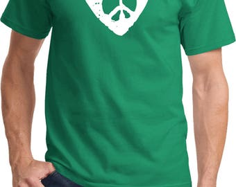 Men's Hippie Heart Peace Tee T-Shirt HIPPIEHEART-PC61