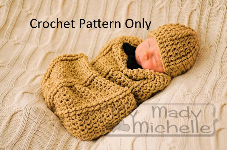 Crochet Pattern For Infant Peanut Cocoon 0 3 Months With Hat And Bow