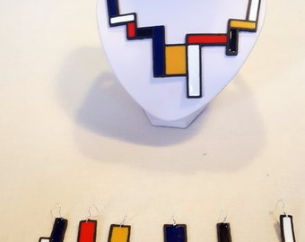 Mondrian jewelry set, art jewelry set, six lightweight earrings, abstract design, contemporary jewelry, wearable art, colorful jewelry set