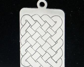 Celtic Stainless Steel Key Fob / Pendant, Hand Engraved