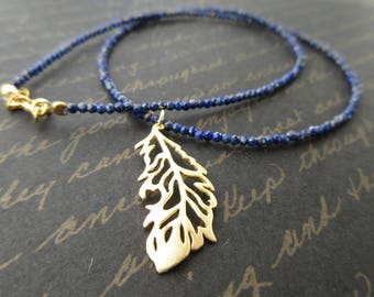 Ancient memory - blue lapis lazuli and gold feather necklace