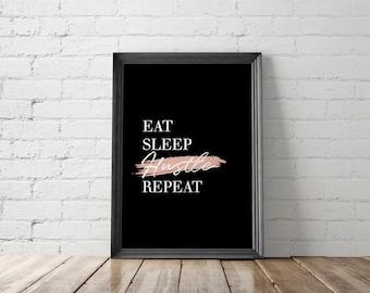 Hustle Printable, Hustle Art Prints, Hustle Wall Art, Hustle Prints, Inspirational Poster, Office Decor, Eat Sleep Hustle Repeat, Girl Boss
